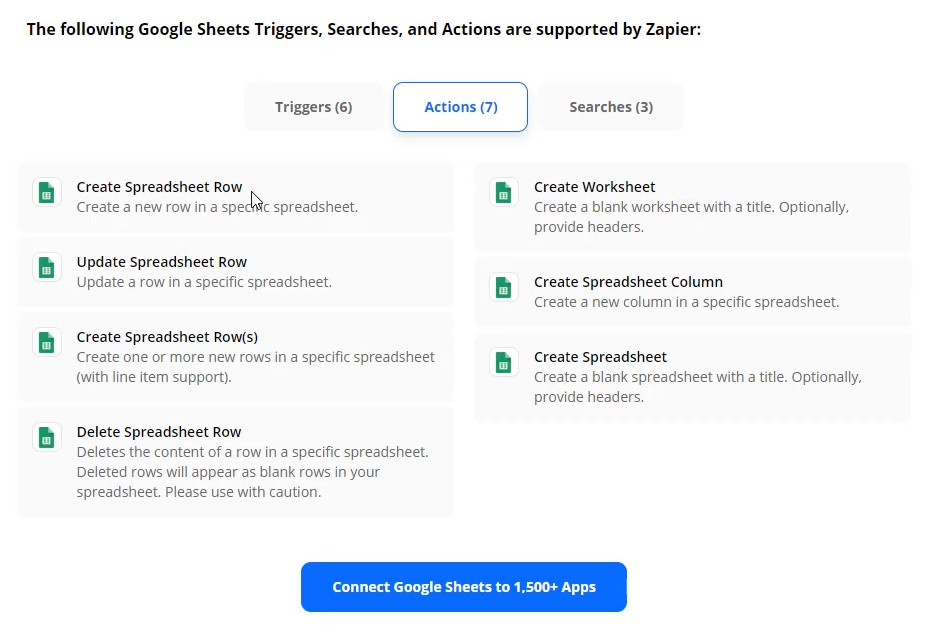 Google Sheets Actions