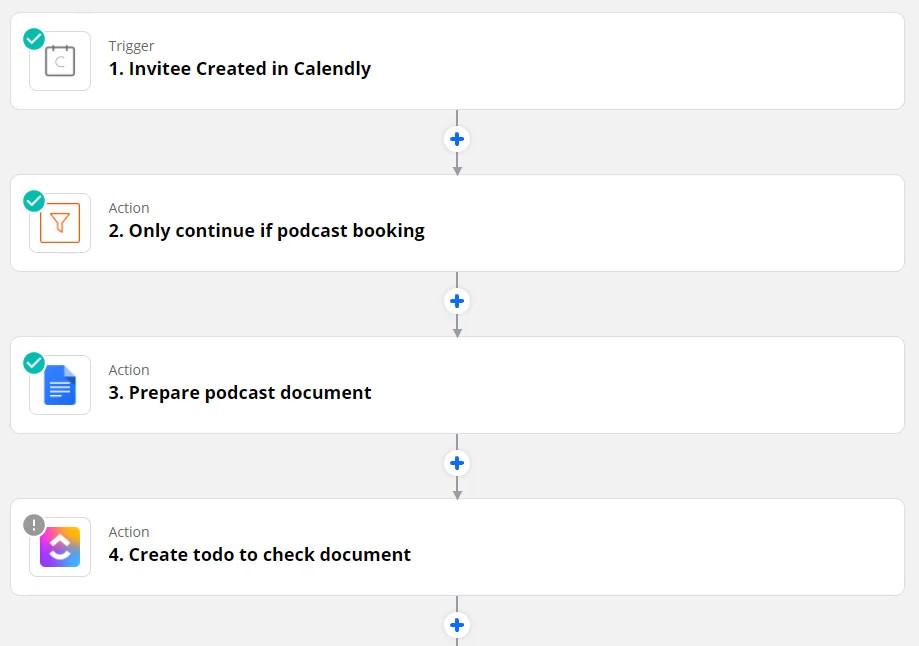 podcast run sheet zapier