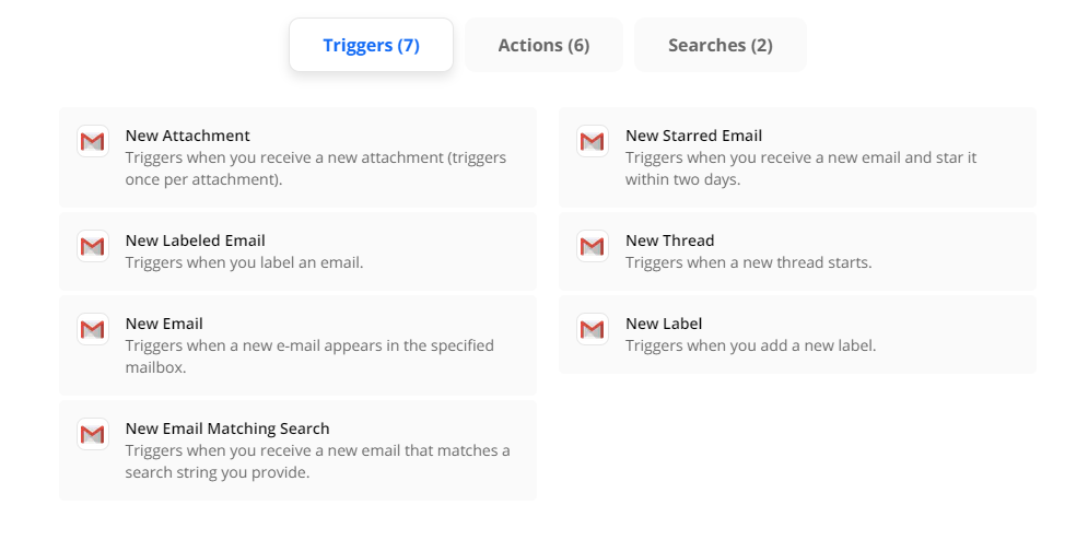 zapier gmail triggers